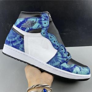 Novos 1 Shoes alta OG WMNS Tie Dye 1S Branco Preto Aurora Mens Verde Womens Basketball Trainers Outdoor Tênis