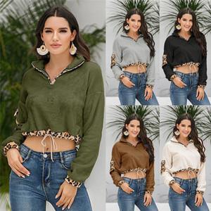 Leopard évider Sweatershirts précarisés Vêtements Automne Hiver Femmes Hoodies Designer Solid Color imprimé léopard