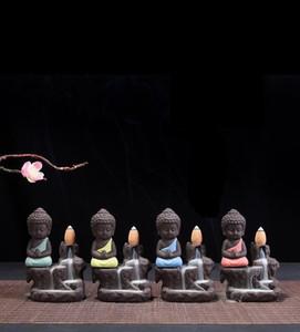 espuma incensário Segurança embalagem Pequeno Buda Backflow queimador de incenso roxo Areia Monk incensário Mini Cerâmica ornamento Fragrance Montanha