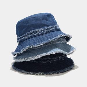 Oloey Fashion Jean Burrs Blue Bucket Hats Women Vintage Casual Basic Beach Sun Cap Summer Solid Streetwear Fisherman Hats 2020