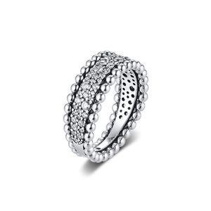 CKK anillo de engrosamiento Anillos pavimenta Mujeres Anel Femenino 100% 925 joyería de plata esterlina Anillos de boda Mujer bagues de compromiso vierten