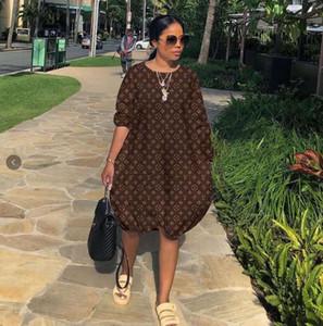 Casual Kadınlar Harf Baskılı Elbiseler Moda Tasarımcısı Ekip Boyun Kasetli Bayan Modelleri 6LVLOUISVUITTON