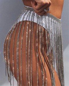 Sexy bling strass Ceintures long Tassel Fringe ceinture en cristal d'or de la chaîne de mariée ceinture bracelet pour les femmes accessoires