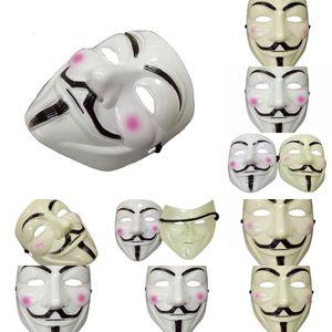 für Männer Kostüm Form Halloween v Vendetta-Partei-Schablonen Männliche klassische Cosplay der Männer Weiß Gelb Maskenzubehör 79yk #