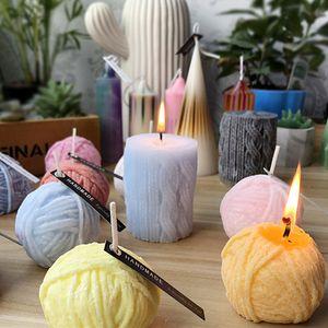 Silicone bougie boule de laine moule savon à la main colonne de bâton 3D moule en forme de pilier bricolage décoration fête de mariage romantique d'anniversaire