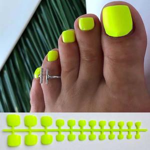 أظافر أصابع الأقدام وهمية الساخنة صفراء زاهية الاكريليك للادوات تصميم الغلاف Articficial كاذبة تو الأظافر تلميح كاملة اضغط على أظافر
