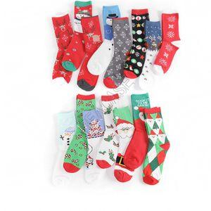 Unisex Christmas Holiday Stocking Santa Snowman Printing Cotton Socks Women Men Mid-calf Stockings Hosiery for Christmas Long Sock D82009