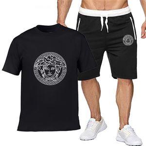 VERSACE Hommes Designers Lettres Survêtement Mode Broderie Luxe Été sport à manches courtes Pull Jogger Pantalons Costumes O-Neck Spo