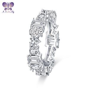 Multi-estilo de Piedra 925 Anillo de plata de pulsera para mujer de compromiso de diamante de la simulación SONA compromiso de la boda anillo de la eternidad Band