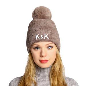 2020 neuer Winter Wool Cap Dame gewellter Punkt Strickmütze Haarverdichtung Warm Wool Cap