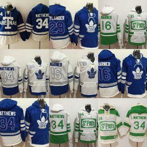 91 John Tavares Jugendliche Zeit Hockey Toronto Ahorn Blätter leerer Jersey Hoodie Authentische Hoodies Trikots Winter Sweatshirts Blaue Sahne
