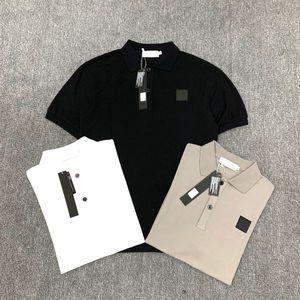 2020 мужских рубашки поло ретро бренд классических тенниски мужчин тройники вышивка с коротким рукавом летом нагрудной сплошного цветом груди письма украшения вершины