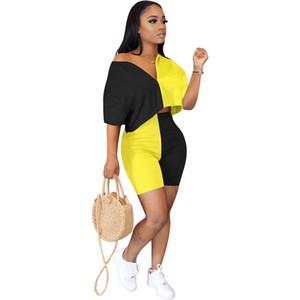 Designer painéis Womens duas partes Calças Roupa descontraída Contraste Moda Two Piece Define Suits Vneck solto Esportes
