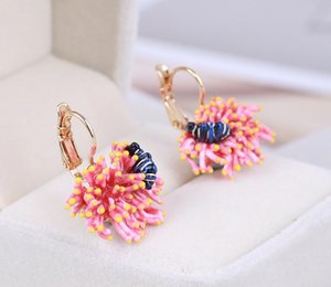 Hot Sale Enamel Glaze Unique Marine Plant Pink Coral Fish Earrings For Women Lovely Romantic Simple