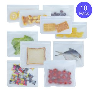 Silicone Food Storage Bag Reusable Freezer Bag Ziplock Leakproof Top Fruits Lunch Box - FDA Approved BPA Free