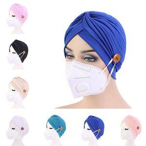 Turban Hat Female pure HeadBand Button Headband Turbante Headwear Sleep Hat Adult Bandana Hair Towel Hair Accessories 120pcs T1I2268