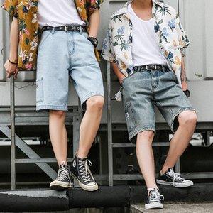 Sqocs Tooling Denim Shorts, Herren und Shorts Modemarke lose koreanischen Stil trendy fünf Viertelhosen Herren-Online-rot ins gerade fallen