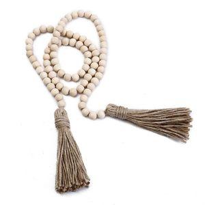 Perle registro Perline di legno ornamenti d'attaccatura della nappa di preghiera perline Wall Hanging decorazioni Ghirlanda Rustico Beads Home Decor HWD939