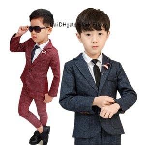 Fashion Boys Formal Suit Set for Weddings Party School Children Slim Fit Suits Kids Boys Blazer Trouser with Bowtie 2pcs Outfits