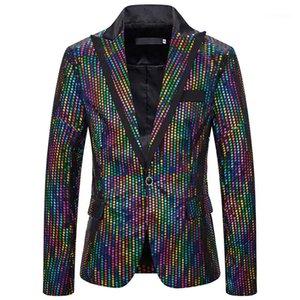 Casual magro dos homens Vestuário Mens Designer Night Club Blazers Moda Mens Colorful Polka Dot Impresso Casacos