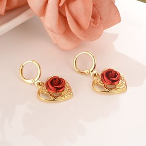 NEW ARRIVAL 14 k YELLOW FINE GOLD FILLED STUD EARRING WITH RED ROSE FLOWER HEART DESIGN