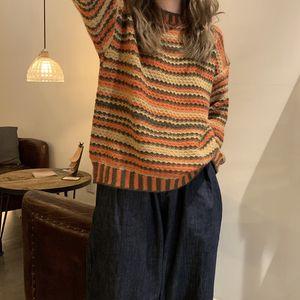 Hot Sale Women's Round Neck Retro Long-sleeved Sweater Student Tide Wear Knitted Sweater Korean Autumn Winter Warm Striped Sweater