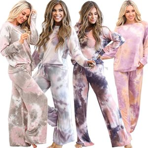 Autumn Winter Tie-dyed Print Two Pieces Sets Women Casual O Neck Long Sleeve Loose Tops+ Wide-leg Pants Femme Home Pajamas Suits