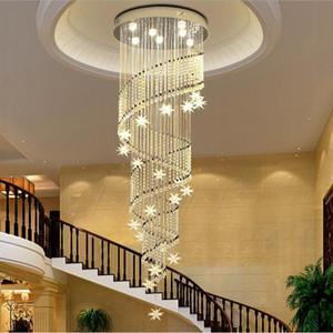 현대 K9 크리스탈 샹들리에 나선형 디자인 계단 크리스탈 천장 전등 설비 계단 Droplights 호텔 빌라 실내 조명