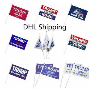 2020 Donald Trump Flags 14 * 21cm Kleine Flagge Präsident Wahl Hand Trump Stock-Banner Flaggen halten Amerika groß für Hauptdekoration