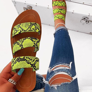 Mode pour dames Chaussures Chaussons Femme Serpent Roman Imprimer une ligne de plage Sandales de grande taille Flat Pantoufles Désinvoltes