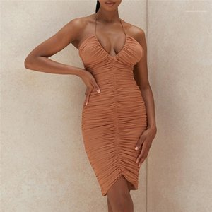 Dress Deep V Neck Women Dress Sexy Halter Ruched Mesh Bodycon Dresses Ladies Slim Backless Party