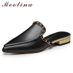 Meotina цепи натуральная кожа низком каблуке мулов Женщины Насосы Остроконечные Toe толстый каблук обувь женская обувь лето Золотой Большой размер 9