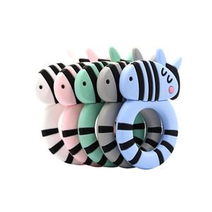 2020 Wholesale Lovely Striped Animal Zebra Shape Cartoon Horse Baby Teething Food Grade BPA Free Toddler Soft Safe Silicone Baby Teether