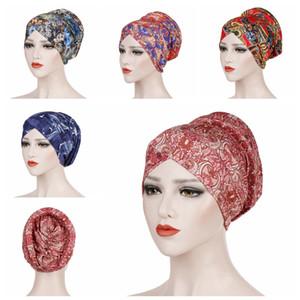 Leopard-Druck-Turban Frauen Muslim Dehnkopfs Schal Floral Einstellbare Hijabs Cotton Fashion Headwrap Chemo Cap Haarschmuck YFA2389