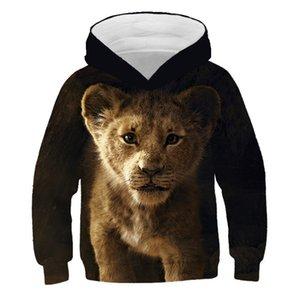 PINSHUN 3D Print Lion Мальчики Толстовки детские Осень с капюшоном для мальчиков Девушка Детская одежда с длинным рукавом пуловер Топы Y200831