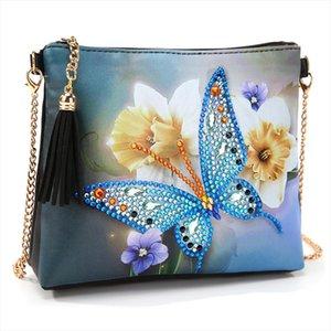 5D diamante Pittura di cuoio del fiore di farfalla Borse Crossbody fai da te diamante del ricamo della borsa del sacchetto Pouch
