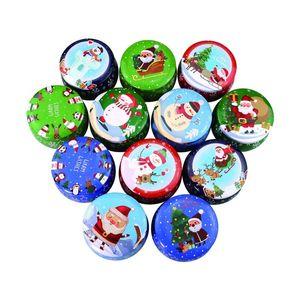 Natal Tea Tinplate Box de Santa Snowman Elk imprimir desenhos Box Xmas Candle Aromaterapia presentes Bomboniere Boxes