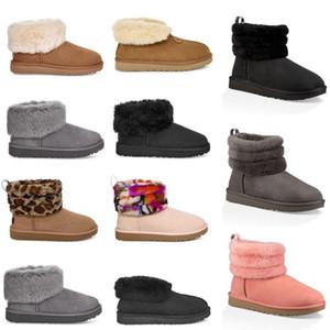 ugg women men kids uggs slippers furry boots slides Platformu Ayakkabı için 2020 Yeni Bayan WGG Kar Boots Ayak bileği Kısa yarım Bow Kürk Tasarımcı Avustralya Kız kısa çizme AndV