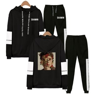 Cantor Shawn Mendes camisola Hoodies Sweatpants Suits Homens Mulheres Popular Shawn Mendes Hip Hop pulôver Two Pieces Set Treino Y200812