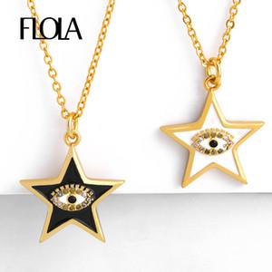FLOLA Gold Сглаз кулон ожерелья для женщин Кристалл Эмаль звезды ожерелья Циркон турецкий голубой глаз ювелирные изделия Olho Grego nkep64