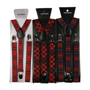 Vintage Elastik 2.5 cm Braces Ekose Suspender Kadınlar Erkekler Askılar Pantolon