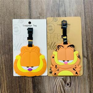 Garfield PVC Keychain Luggage Tag Man Key Chain Women Key Holder Cute Couples Keyring Boarding Pass Ring Wedding Porte Clef
