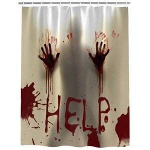 48 x 72 Inches Halloween Shower Curtain, Help Me with Bloody Hands for Halloween Decorations Theme Decor Bath Curtain Waterproof