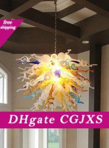 Início Flower Pendant Chandelier Outstanding Art Projeto Artesanato Blown Lustres quentes de vidro para quarto sala L