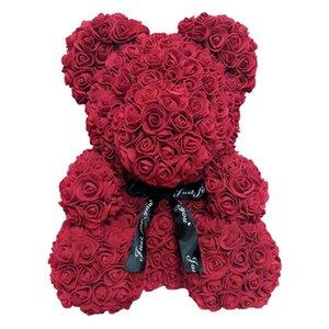 День подарков Present 1шт Искусственные цветы 40cm плюшевый медведь Rose Подруга Юбилей Рождество Валентина для свадебного банкета