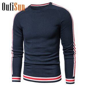 Oufisun Men 2020 Winter Casual Knitted 100% Cotton Striped Sweaters Pullover Men Autumn New Fashion O-Neck Sweater Coat 3XL