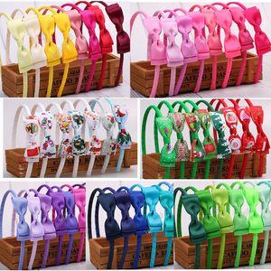 Bebés del arco del pelo de la horquilla de las vendas de Navidad de los niños de la cinta arcos sólidos del aro del pelo de cierre Hairband INS Cabeza Wraps accesorios principales D82710