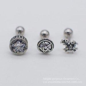 Titanium aço cruz Roman digitais Estrela Estrela diamante brincos de diamante brincos dos homens modernos personalizados das mulheres única
