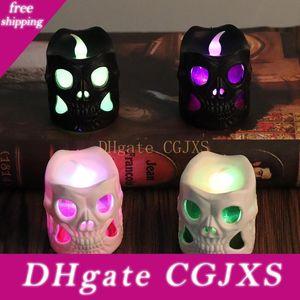 Led luminoso cráneo de Halloween Vela Vela llevada creativa de la casa encantada partido de la barra cráneo decoración Negro Plástico Blanco Cráneo Velas