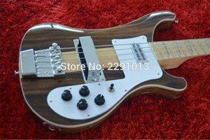 Personalizzato RIC 4000 4001 4003 4 corde basse della chitarra elettrica Brown NOCE corpo, manico in acero Thru corpo, un PC collo corpo, doppia uscita Jack l7Qr #